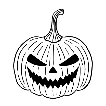 Spooky Halloween pumpkin isolated on white background. Creepy and scary character. Hand-drawn vector illustration in doodle style. Perfect for cards, logo, holiday designs, decorations.