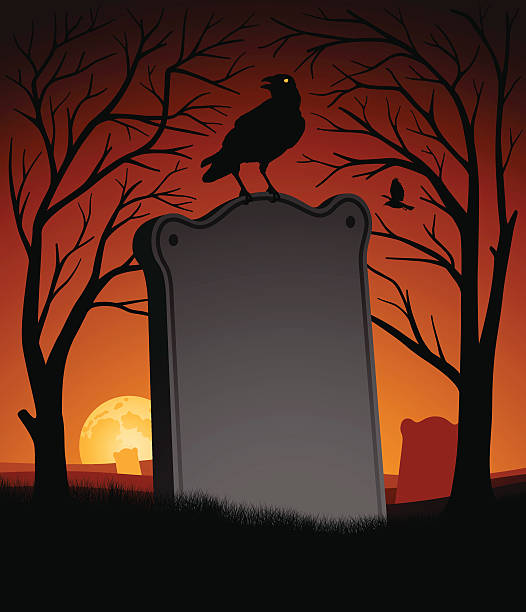Spooky Halloween Scene Spooky Halloween Scene with copy space. scary halloween scene silhouettes stock illustrations
