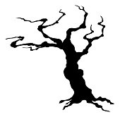 不気味ハロウィーンの木のシルエット