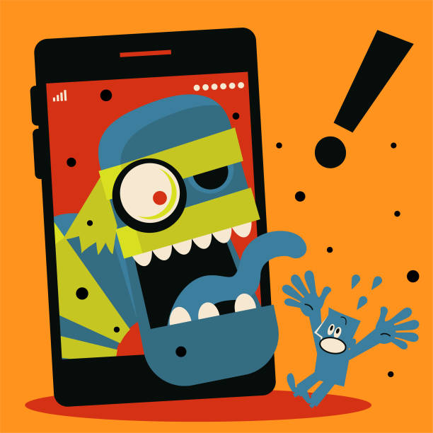 Spooky Halloween zombie comes out of mobile phone to scare blue man vector art illustration