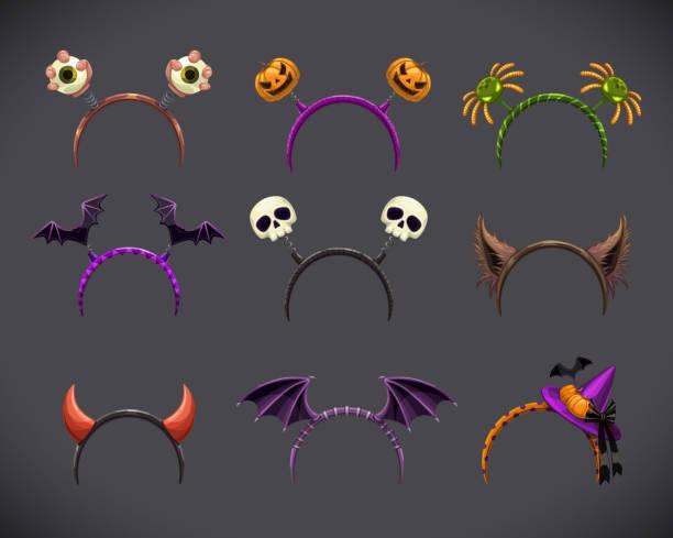 stockillustraties, clipart, cartoons en iconen met spooky hoofd bands collectie. hallowine kostuum element - kostuum