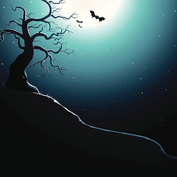 Spooky Hill. EPS8 vector art illustration