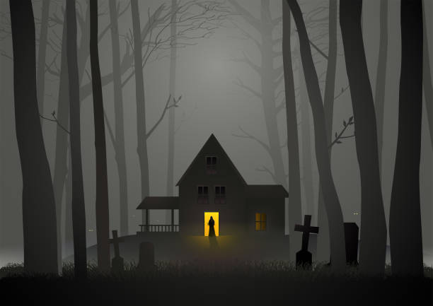 Spooky house in the woods Graphic illustration of  spooky house in the woods, for Halloween and horror theme scary halloween scene silhouettes stock illustrations