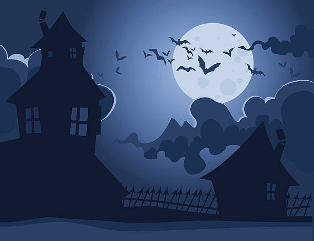 Spooky Houses Spooky elements are set on different layers spooky halloween town stock illustrations