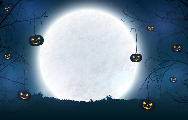 ürkütücü gece cadılar bayramı afiş için arka plan. - halloween background stock illustrations