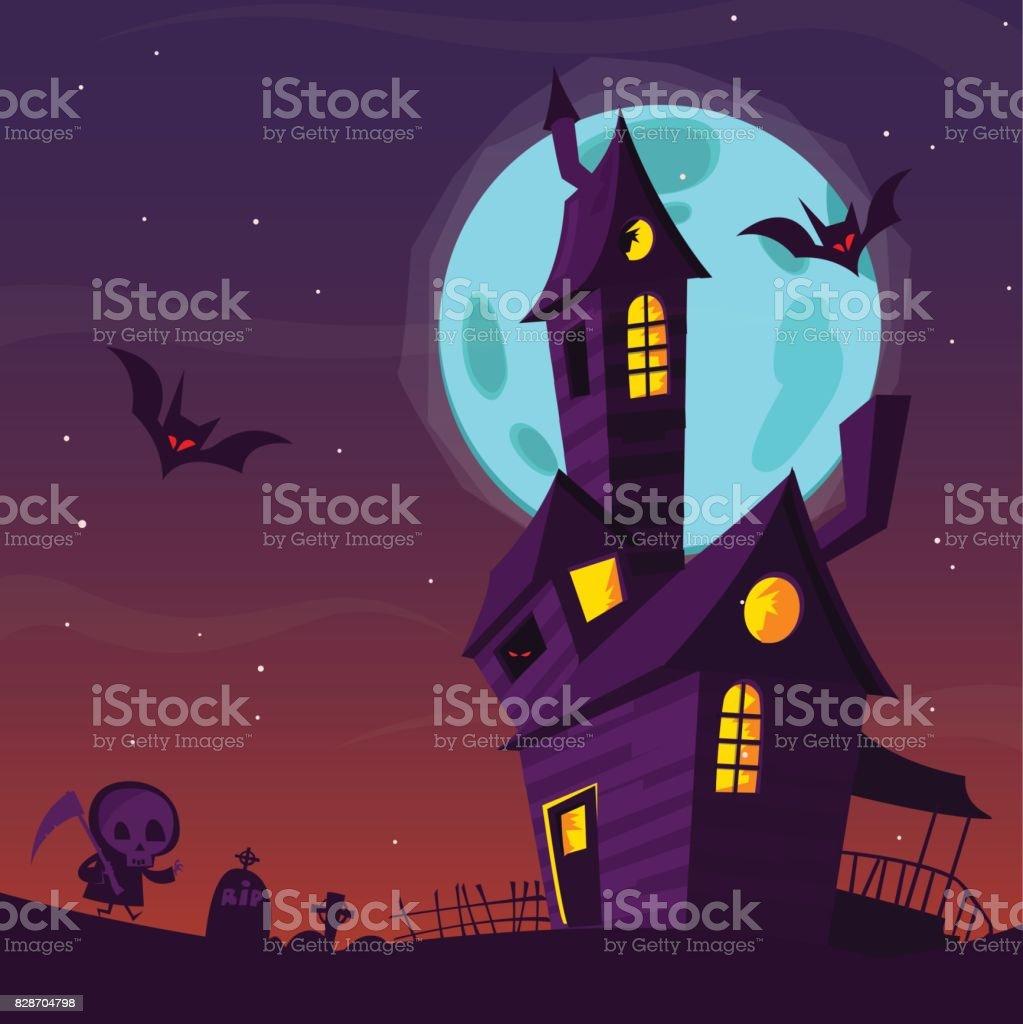 Spooky Vieille Maison Hantée Avec Des Fantômes Fond De