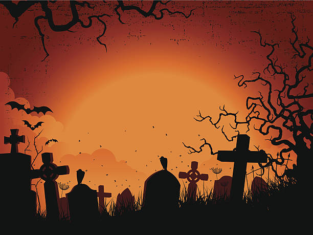 stockillustraties, clipart, cartoons en iconen met spooky orange and black silhouette graveyard background - kerkhof