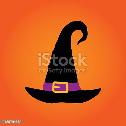 istock Spooky Orange Withes Hat Icon 1185794572