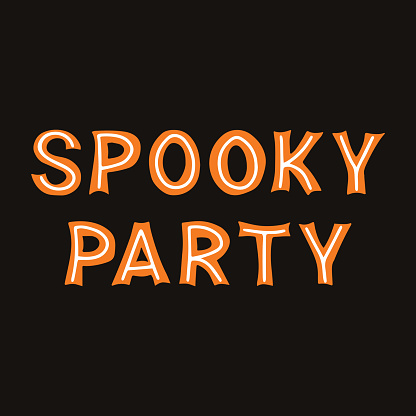 Spooky party. Orange lettering with white lines on a dark background. Vector stock illustration.