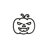 Spooky pumpkin line icon. Jack-o-lantern, monster, vegetable. Halloween decoration concept. Can be used for topics like holiday, horror movie, fall