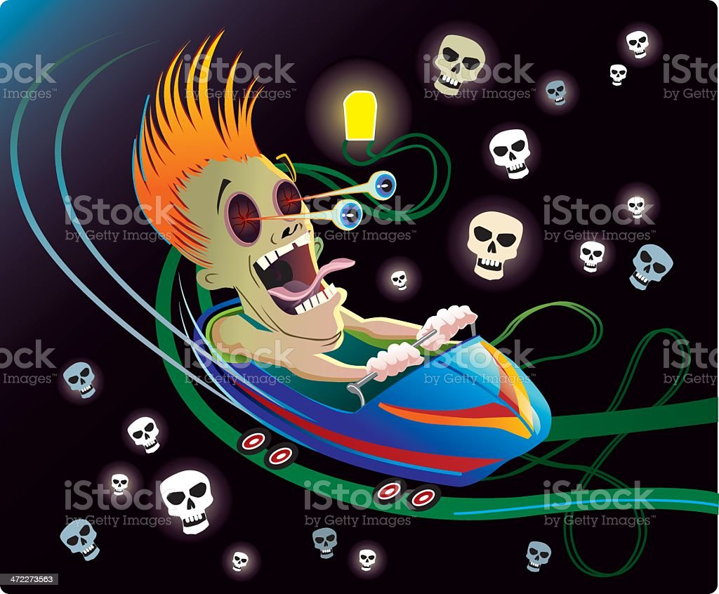 Spooky Roller Coaster Ride royalty-free spooky roller coaster ride stock vector art & more images of amusement park