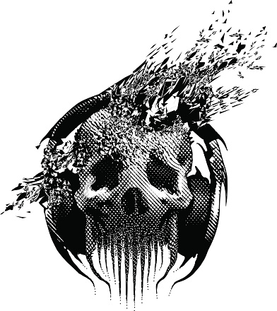 Spooky Skull Listening To Music, Blown Away By Song