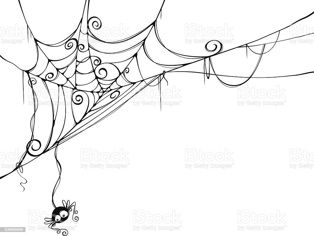 Spooky spider web vector art illustration