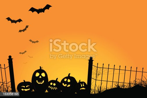 istock Spooky Sunset with Jack O'Lanterns and Bats 153358165