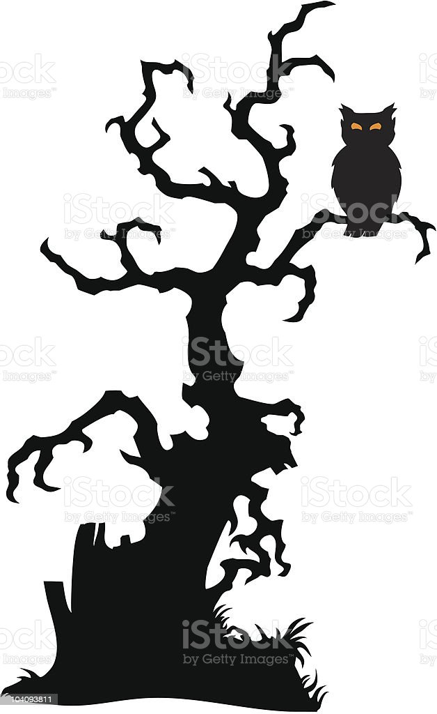 Spooky Tree With Owl Stock Illustration - Download Image ...