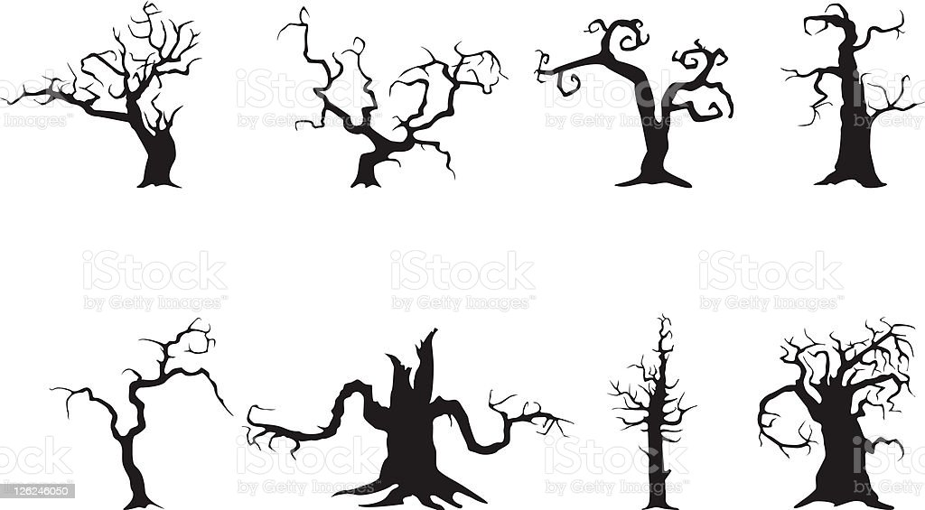 Spooky trees vector art illustration