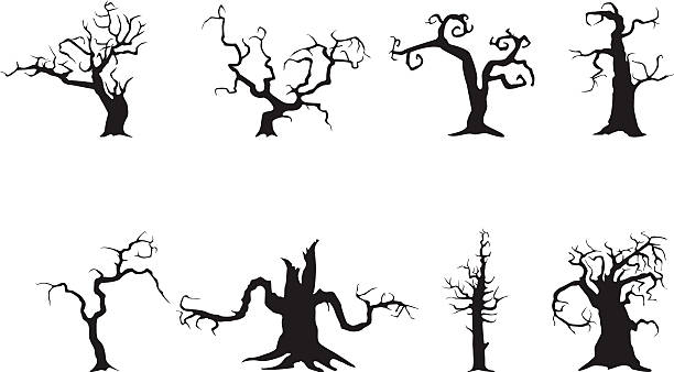 bildbanksillustrationer, clip art samt tecknat material och ikoner med spooky trees - fasa