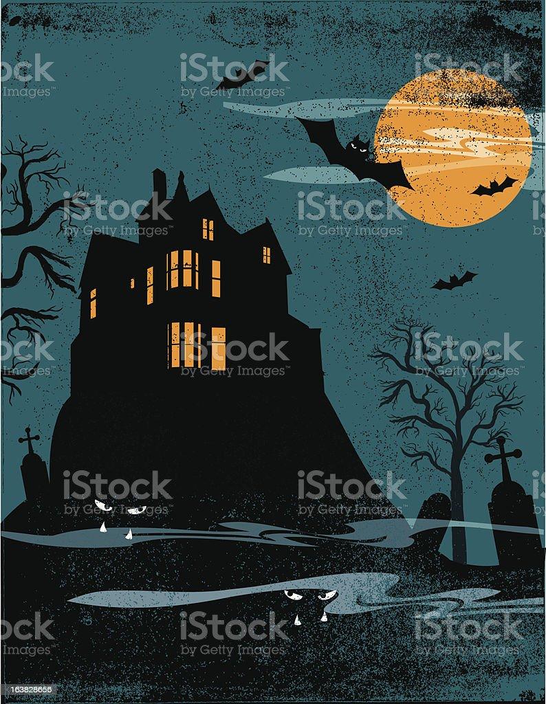 Spooky Twilight Halloween Scene with Texture royalty-free stock vector art