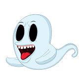 Spooky White Ghost Cartoon