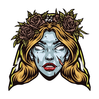 Spooky zombie bride head