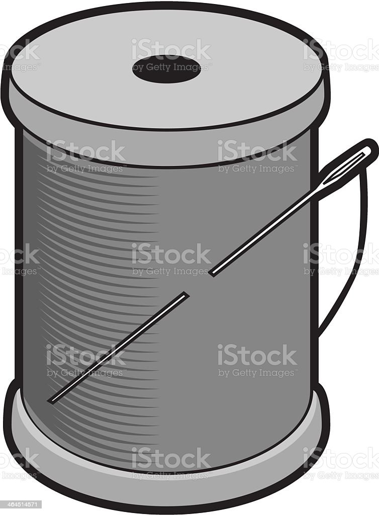 Spool of Thread and Needle royalty-free spool of thread and needle stock vector art & more images of black and white