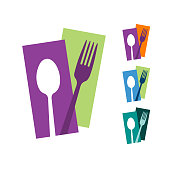 Spoon and Fork Abstract logo for cafe and restaurant.   Vector logo illustration. Graphic food icon symbol for cooking business.