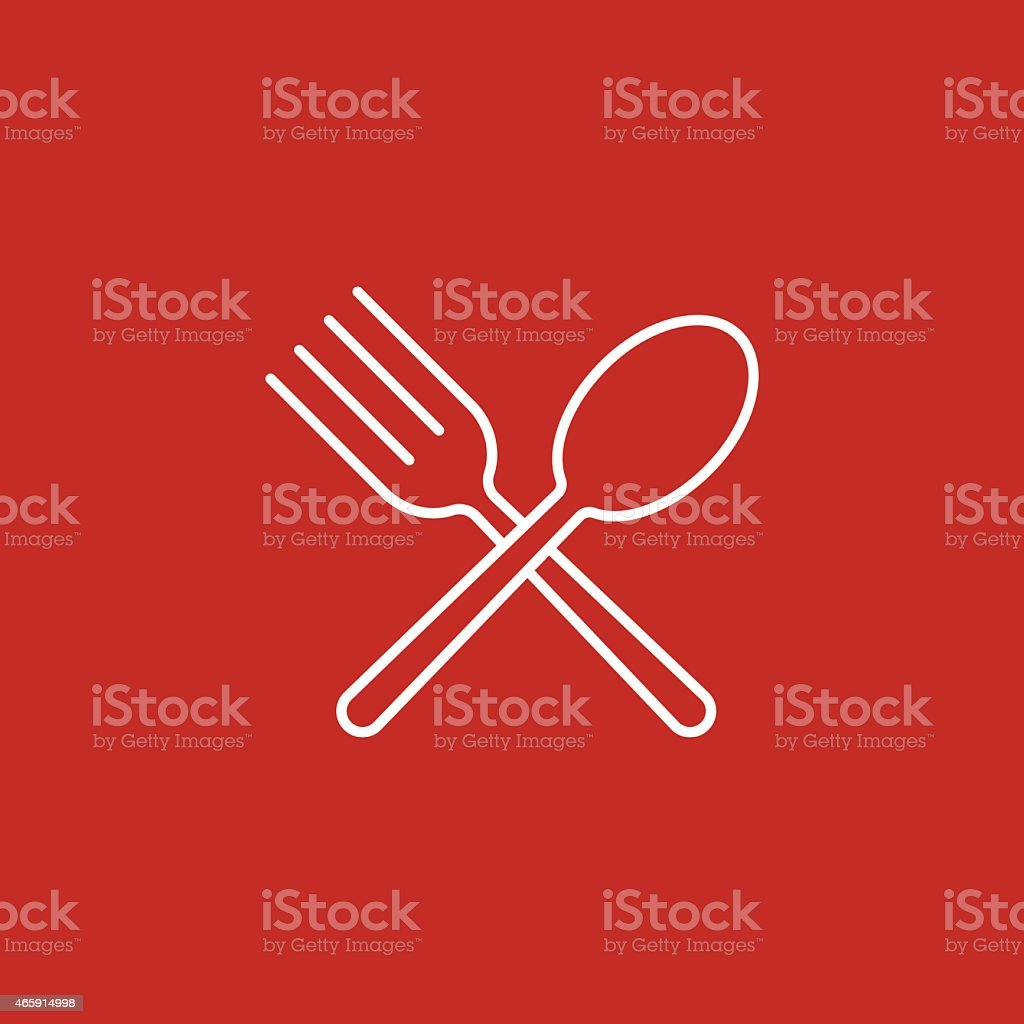 Spoon and fork icon on red background vector art illustration