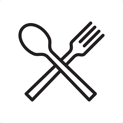 Crossed spoon and fork, Restaurant sign — Professional outline black and white vector icon. Pixel Perfect Principle - icon designed in 64x64 pixel grid, outline stroke 2 px.  Complete Outline BW board — https://www.istockphoto.com/collaboration/boards/74OULCFeYkmRh_V_l8wKCg