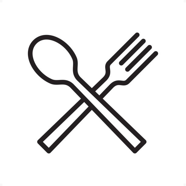 Spoon and Fork - Outline Icon - Pixel Perfect Crossed spoon and fork, Restaurant sign — Professional outline black and white vector icon. Pixel Perfect Principle - icon designed in 64x64 pixel grid, outline stroke 2 px.  Complete Outline BW board — https://www.istockphoto.com/collaboration/boards/74OULCFeYkmRh_V_l8wKCg spoon stock illustrations