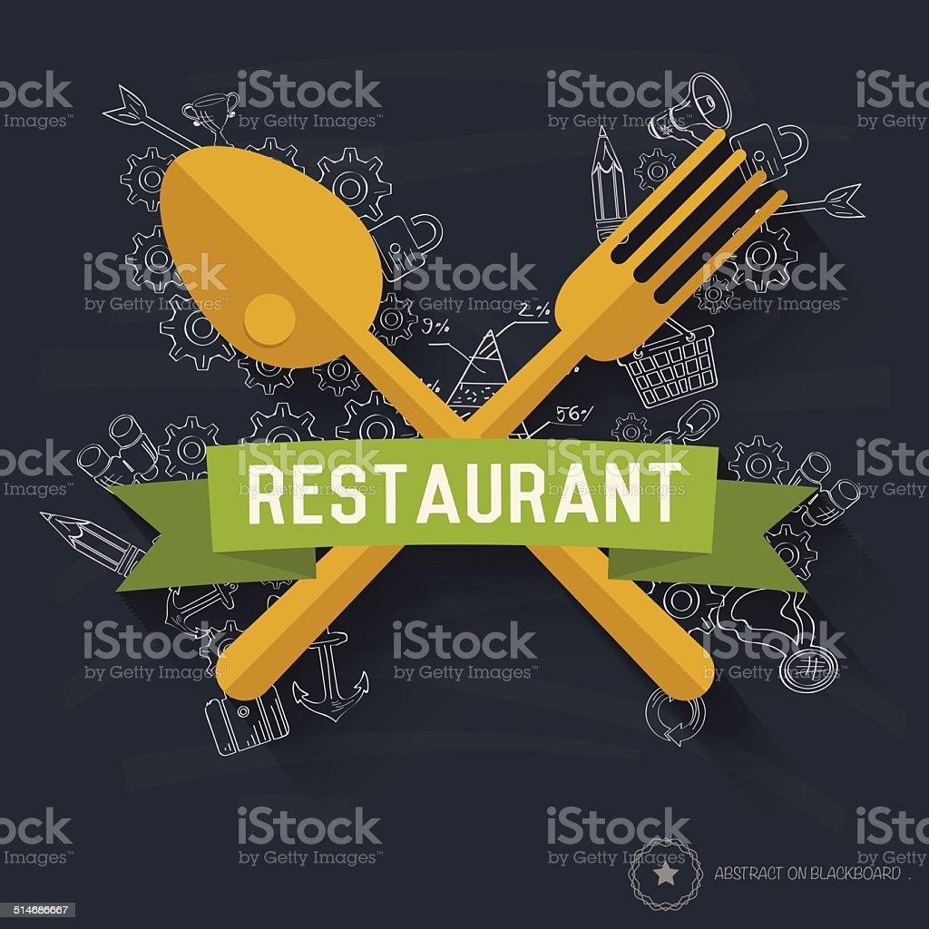 Spoon design on blackboard background,clean vector vector art illustration