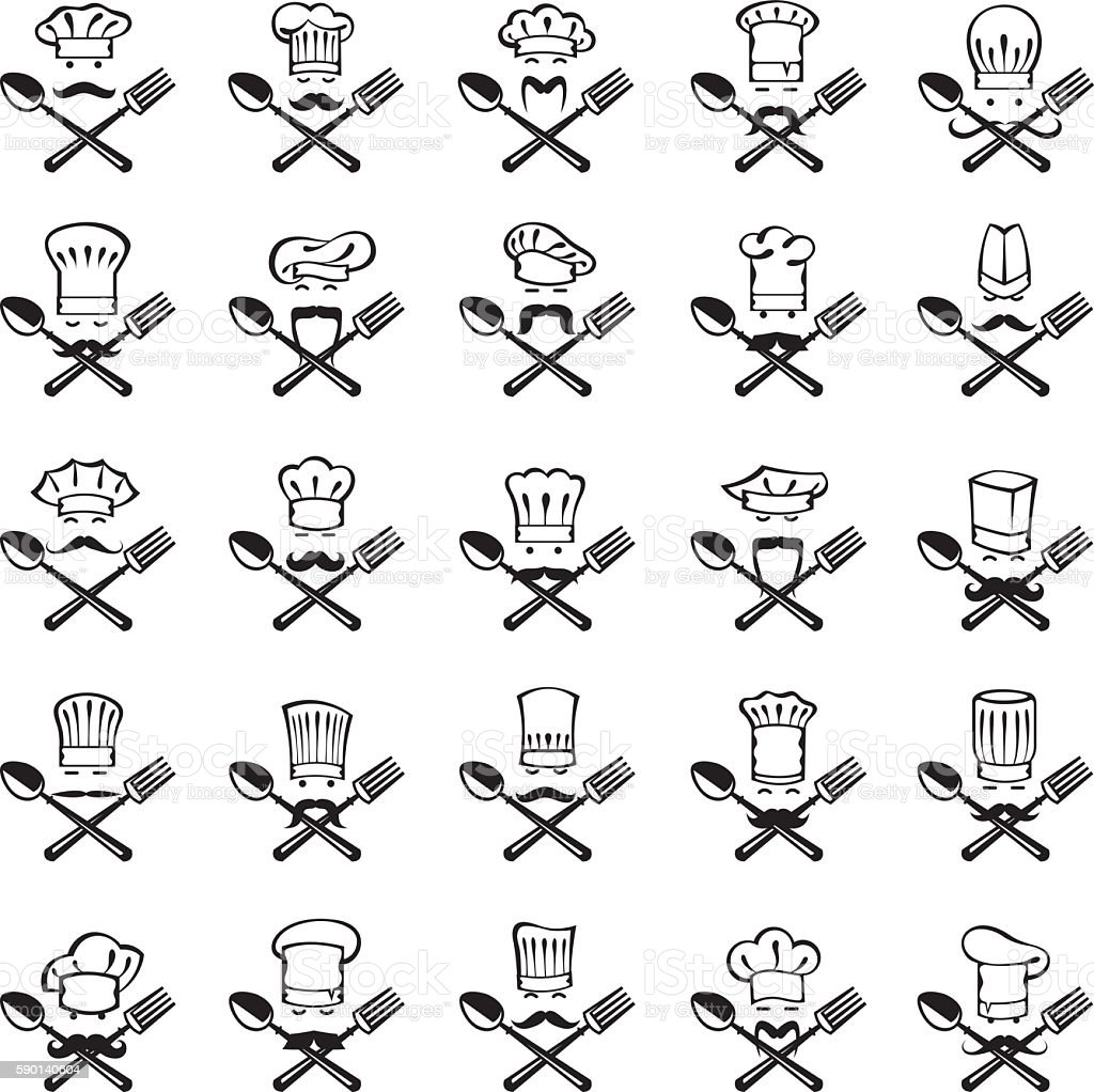 spoon, fork and chef set vector art illustration