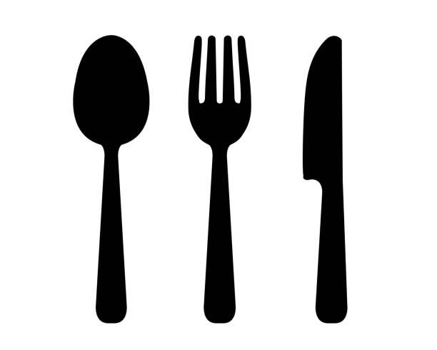löffel, gabel und messer illustration set - tafelbesteck stock-grafiken, -clipart, -cartoons und -symbole