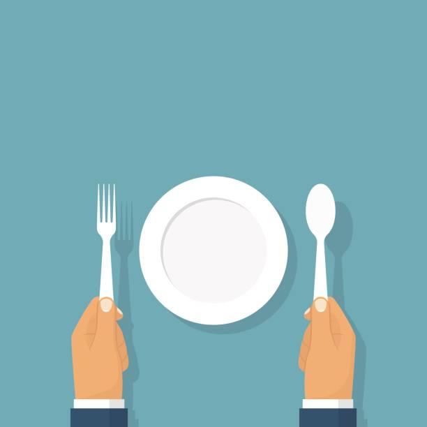 bildbanksillustrationer, clip art samt tecknat material och ikoner med sked-gaffel som håller i händer - empty plate