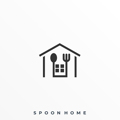 Spoon Home Illustration Vector Template. Suitable for Creative Industry, Multimedia, entertainment, Educations, Shop, and any related business.