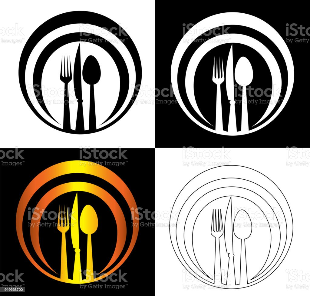 Spoon Knife And Fork On An Abstract Dish Background Catering Symbol