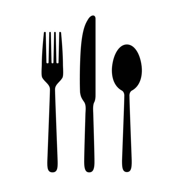 illustrazioni stock, clip art, cartoni animati e icone di tendenza di spoon, knife, fork. - coltello posate