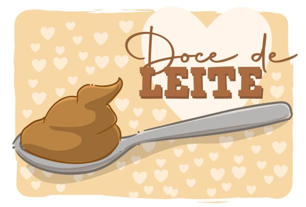 """Spoon of dulce de leche Cartoon style illustration of a spoonful of dulce de leche with the text """"dulce de leche"""". leite stock illustrations"""