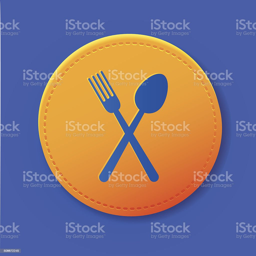 Spoon symbol on button,vector royalty-free stock vector art