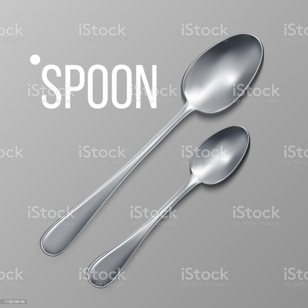 Spoon Vector. Silver Metal Spoon Top View. Restaurant Silverware...