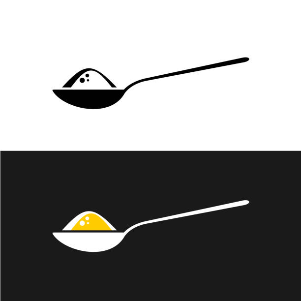 Spoon with content symbol. Spoon with content symbol. Tea spoon with sugar, salt, flour or other ingridient side view. spoon stock illustrations