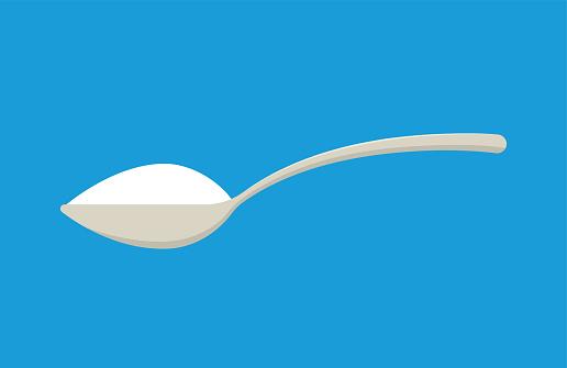 Spoon with sugar, salt or flour. Teaspoon. Vector illustration