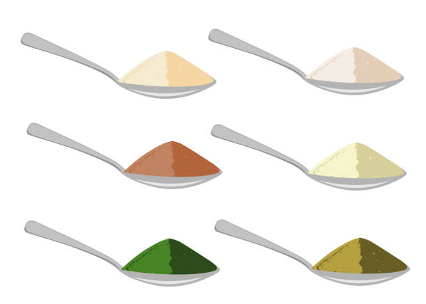 Spoons with differrent sources protein powder. Vector illustration. Spoons set with differrent sources protein powder. Milk, soy, meat, egg,spirulina, and hemp protein. Vector illustration. scooping stock illustrations