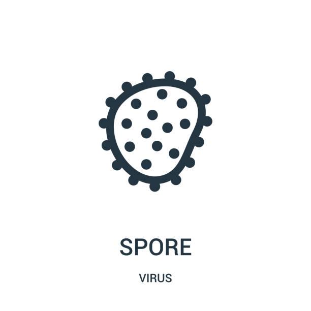 stockillustraties, clipart, cartoons en iconen met spore icon vector van virus collectie. dunne lijn spore overzicht icoon vector illustratie. - meeldauw