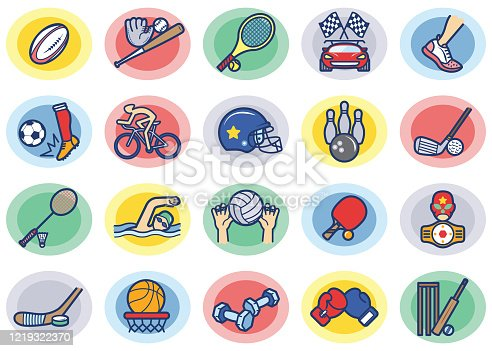 Various Sports multi color Icons/Clip Arts vector illustration for various uses Easy resize. All objects is layered. Vector EPS file and image jpeg full HD.