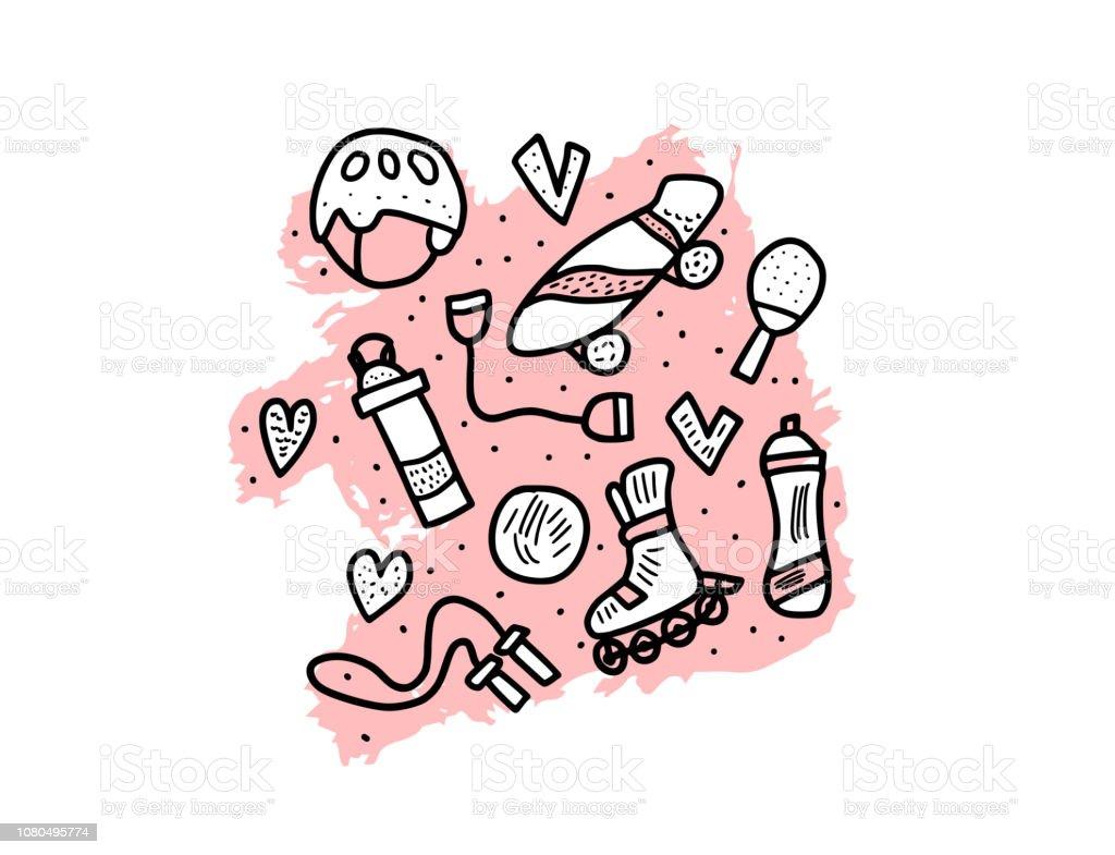 Símbolos de atividades de esporte. Ilustração em vetor. - ilustração de arte em vetor