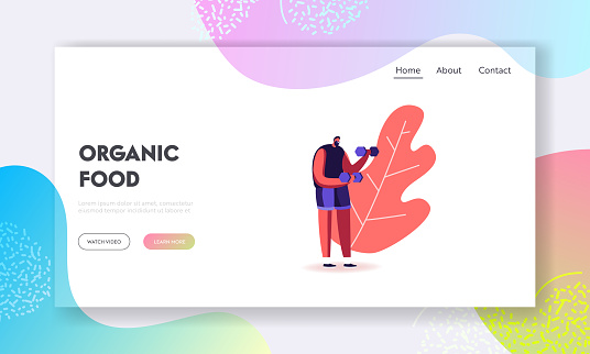 Sport Activity, Healthy Lifestyle Landing Page Template. Sportsman with Dumbbells. Male Character Workout with Weight. Bodybuilding Exercises, and Diet Eating. Cartoon People Vector Illustration