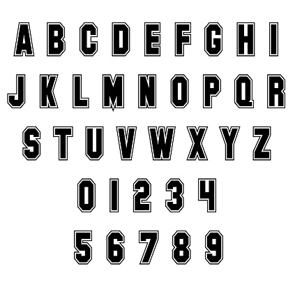Sport Alphabet Letters and numbers on white background. Vintage sport font. Letters and numbers vector.