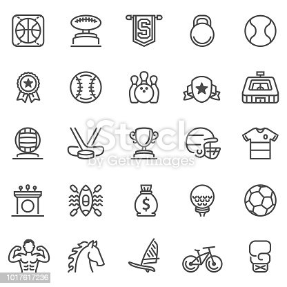 Sport and Achievement Vector Set with boxing,baseball,soccer and basketball icons