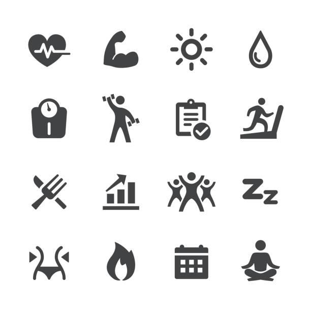 illustrazioni stock, clip art, cartoni animati e icone di tendenza di sport and activity icons - acme series - icon set healthy