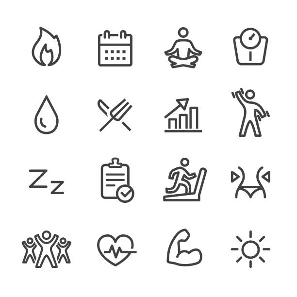 sport and activity icons - line series - wellness stock illustrations